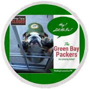 Green Bay Packers Round Beach Towel by Kathy Tarochione