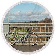 Green Bicycle On Bridge Round Beach Towel