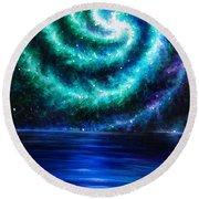 Green-blue Galaxy And Ocean. Planet Dzekhtsaghee Round Beach Towel