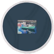 Green Boat Reflections Round Beach Towel