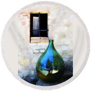 Green Bottle Italian Window Round Beach Towel