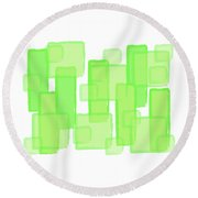 Green Boxes  Round Beach Towel