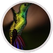 Green Breasted Mango Hummingbird Round Beach Towel