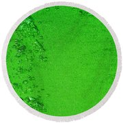 Green Bubbles 2 Round Beach Towel