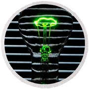 Green Bulb Round Beach Towel