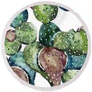 Green Cactus  Round Beach Towel