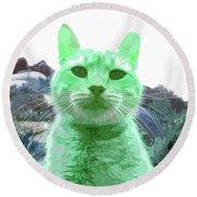 Green Cat Round Beach Towel
