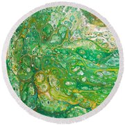 Green Cells Round Beach Towel