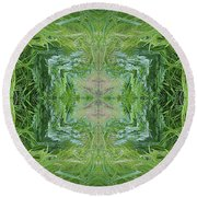 Green Fractal Round Beach Towel