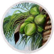Green Coconuts- 01 Round Beach Towel