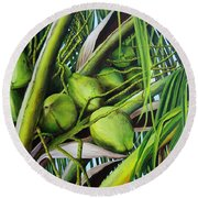Green Coconuts- 03 Round Beach Towel
