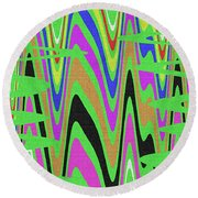 Green Color Abstract #140 Round Beach Towel