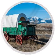 Green Covered Wagon Round Beach Towel