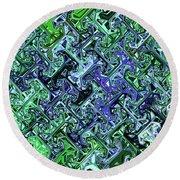 Green Crystal Digital Abstract Round Beach Towel