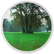 Green Dawn In Autumn Round Beach Towel