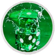 Green Dice Splash Round Beach Towel
