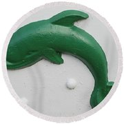 Green Dolphin Round Beach Towel