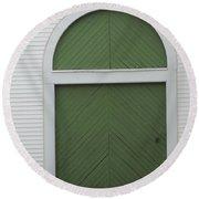 Green Door Arch Round Beach Towel