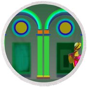 Green Doors Round Beach Towel
