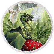 Green Dragon Round Beach Towel
