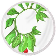 Green Dragon With Fruit Cluster Round Beach Towel