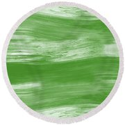 Green Drift- Abstract Art By Linda Woods Round Beach Towel