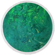Green Exoplanet Surface Round Beach Towel
