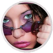 Green Eye'd Girl Round Beach Towel