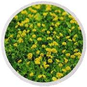 Green Field Of Yellow Flowers 1 Round Beach Towel