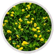 Green Field Of Yellow Flowers 4 Round Beach Towel