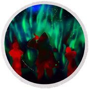 Green Flames In The Night Round Beach Towel
