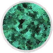 Green Floral Pattern Round Beach Towel