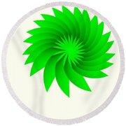 Green Flower Round Beach Towel