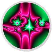 Green Flowers On Pink Ribbons Fractal 64 Round Beach Towel