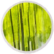 Green Forest Abstract Round Beach Towel