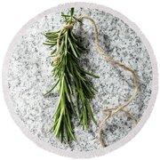 Green Fresh Rosemary On Granite Background Round Beach Towel