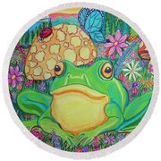 Green Frog With Flowers And Mushrooms Round Beach Towel