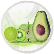 Green Fruits Watercolor Round Beach Towel