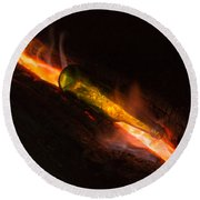 Green Glass Bottle And Campfire Round Beach Towel
