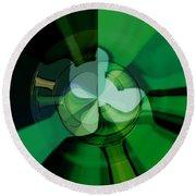 Green Glass Wheels Round Beach Towel