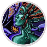 Green Goddess With Butterfly Round Beach Towel