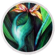 Green Golden Exotic Orchid Flower Round Beach Towel