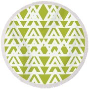 Green Graphic Diamond Pattern Round Beach Towel