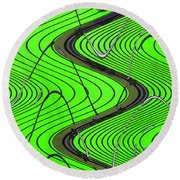 Green Grass Behind The Fence Round Beach Towel