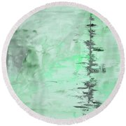 Green Gray Abstract Round Beach Towel