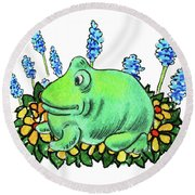 Green Happy Frog Round Beach Towel