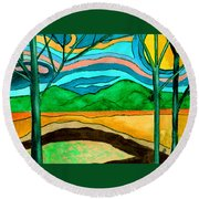 Green Hill Country Round Beach Towel