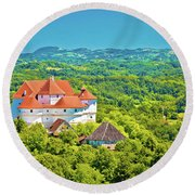 Green Hills Of Zagorje Region And Veliki Tabor Castle View Round Beach Towel