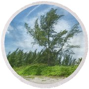 Green Lace Round Beach Towel