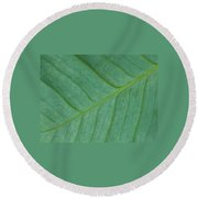 Green Leaf 1 Round Beach Towel